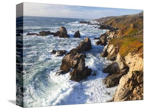 Natural rock arch in surf at Garrapata State Park-Frank Lukasseck-Stretched Canvas Print