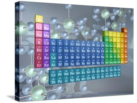 Periodic table of the elements and molecules--Stretched Canvas Print
