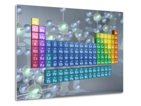 Periodic table of the elements and molecules--Metal Print