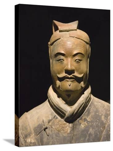 Terra cotta warrior with color still remaining, Emperor Qin Shihuangdi's Tomb, Xian, Shaanxi, China-Keren Su-Stretched Canvas Print