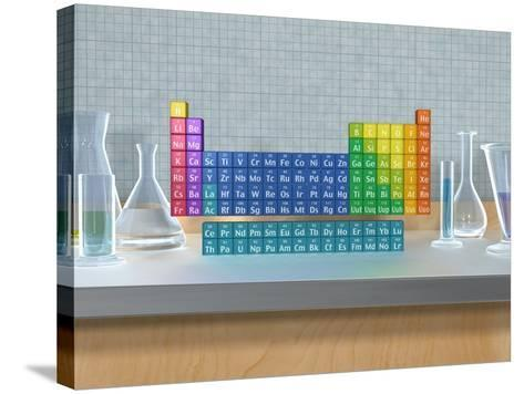 Periodic table of the elements with glassware--Stretched Canvas Print