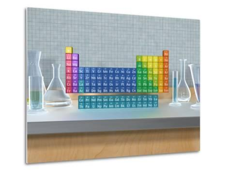 Periodic table of the elements with glassware--Metal Print