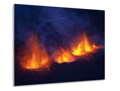 Lava erupting from Eyjafjallajokull--Metal Print