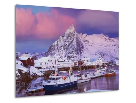 Fishing village of Hamnoy below Klokketinden peak-Frank Krahmer-Metal Print