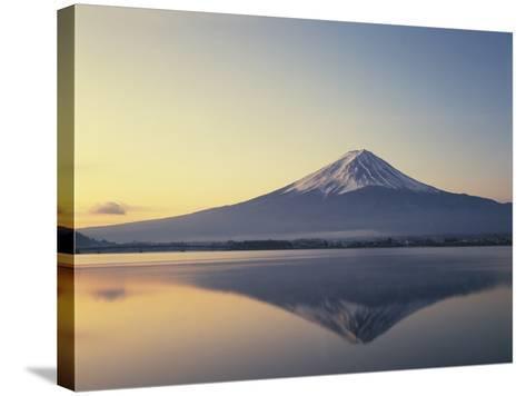 Mt. Fuji reflected in lake, Kawaguchiko, Yamanashi Prefecture, Japan--Stretched Canvas Print