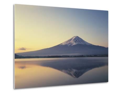 Mt. Fuji reflected in lake, Kawaguchiko, Yamanashi Prefecture, Japan--Metal Print