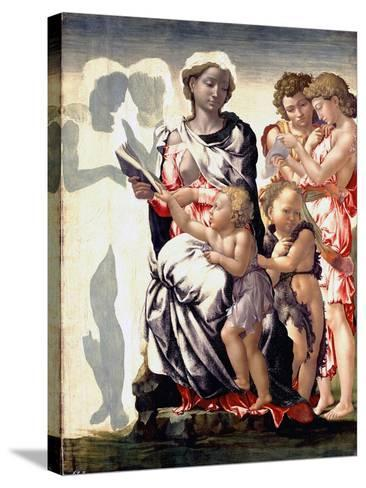 The Madonna and Child with Saint John and Angels-Michelangelo Buonarroti-Stretched Canvas Print