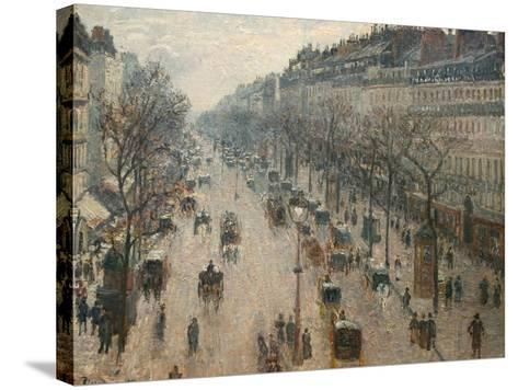 The Boulevard Montmartre on a Winter Morning-Camille Pissarro-Stretched Canvas Print