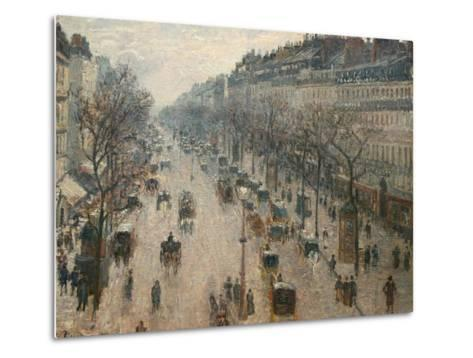 The Boulevard Montmartre on a Winter Morning-Camille Pissarro-Metal Print