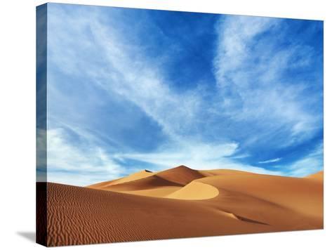 Sand dunes in Erg Admer in Algeria-Frank Krahmer-Stretched Canvas Print