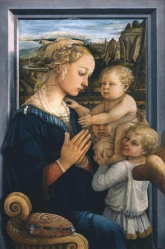 Madonna and Child with Angels-Filippo Lippi-Stretched Canvas Print