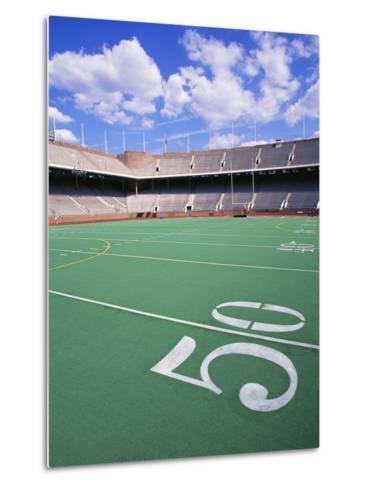 50 Yard Line on Empty Football Field-Alan Schein-Metal Print