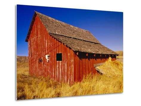 Weathered Old Barn on Ranch-Terry Eggers-Metal Print