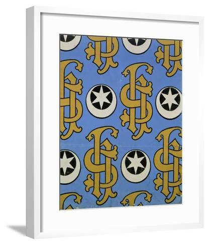 Star and Clef Ecclesiastical Wallpaper Design by Augustus Welby Pugin-Stapleton Collection-Framed Art Print
