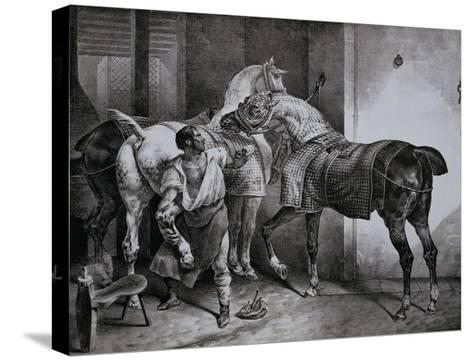 Farrier at Work Lithograph from Etudes de Cheveaux-Th?odore G?ricault-Stretched Canvas Print
