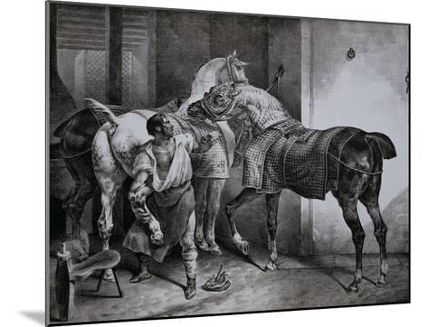 Farrier at Work Lithograph from Etudes de Cheveaux-Th?odore G?ricault-Mounted Giclee Print