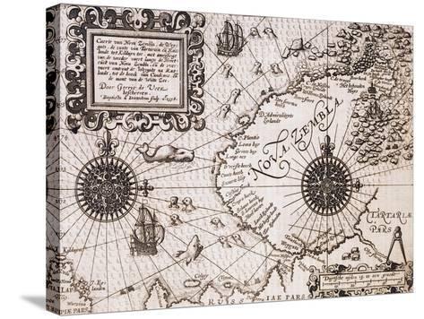 Map of Nova Zembla from Diarium Nauticum, seu vera descriptio trium navigationum admirandarum-Gerrit de Veer-Stretched Canvas Print