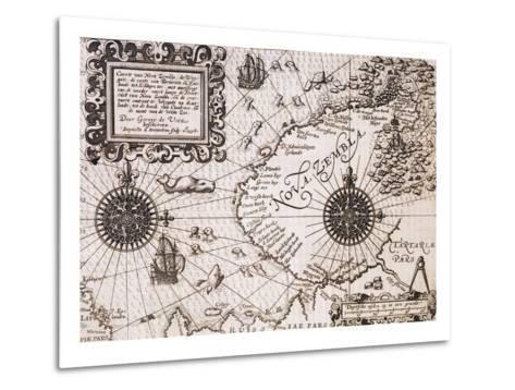 Map of Nova Zembla from Diarium Nauticum, seu vera descriptio trium navigationum admirandarum-Gerrit de Veer-Metal Print
