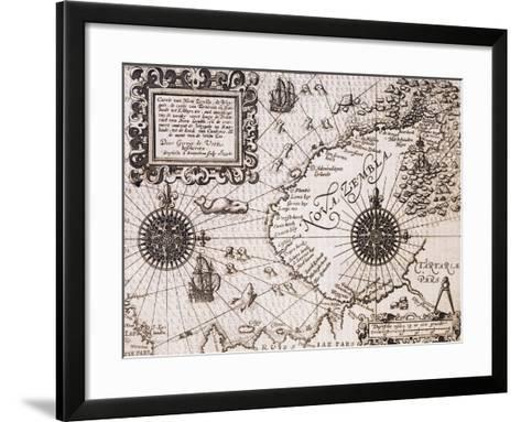 Map of Nova Zembla from Diarium Nauticum, seu vera descriptio trium navigationum admirandarum-Gerrit de Veer-Framed Art Print