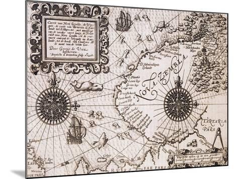 Map of Nova Zembla from Diarium Nauticum, seu vera descriptio trium navigationum admirandarum-Gerrit de Veer-Mounted Giclee Print