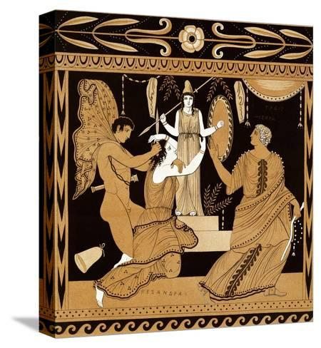 19th Century Greek Vase Illustration of Cassandra with Apollo and Minerva-Stapleton Collection-Stretched Canvas Print