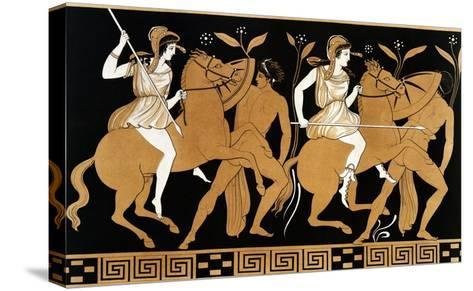 19th Century Greek Vase Illustration of Two Amazons on Horses After Two Youths-Stapleton Collection-Stretched Canvas Print