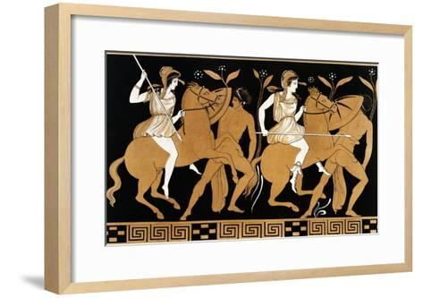 19th Century Greek Vase Illustration of Two Amazons on Horses After Two Youths-Stapleton Collection-Framed Art Print