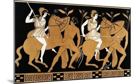 19th Century Greek Vase Illustration of Two Amazons on Horses After Two Youths-Stapleton Collection-Mounted Giclee Print