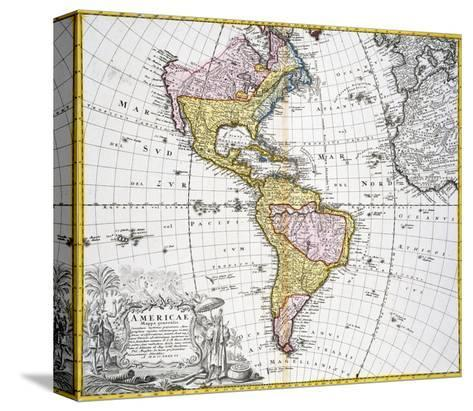 Map of the Americas by August Gottlieb Boehme-Stapleton Collection-Stretched Canvas Print