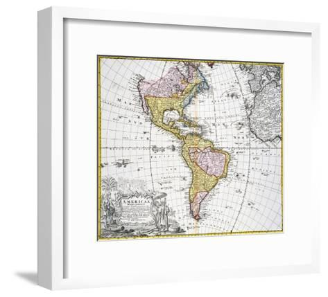 Map of the Americas by August Gottlieb Boehme-Stapleton Collection-Framed Art Print