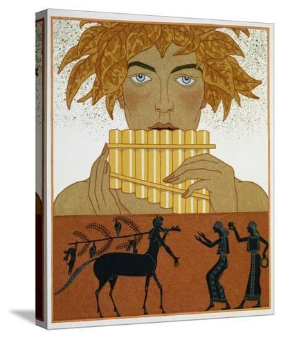 Book Illustration of a Woman Playing Panpipes and a Centaur Greeting Two Women by Georges Barbier-Stapleton Collection-Stretched Canvas Print