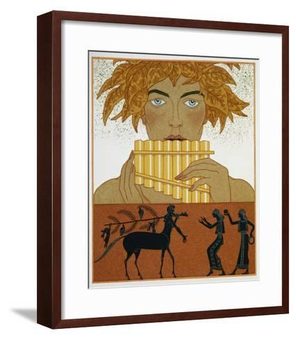Book Illustration of a Woman Playing Panpipes and a Centaur Greeting Two Women by Georges Barbier-Stapleton Collection-Framed Art Print
