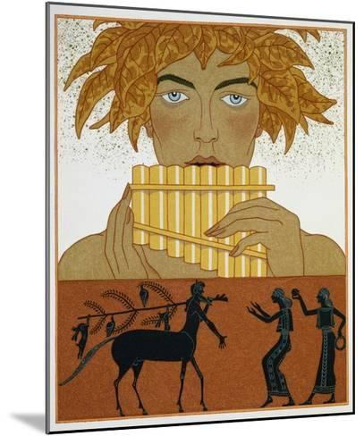 Book Illustration of a Woman Playing Panpipes and a Centaur Greeting Two Women by Georges Barbier-Stapleton Collection-Mounted Giclee Print