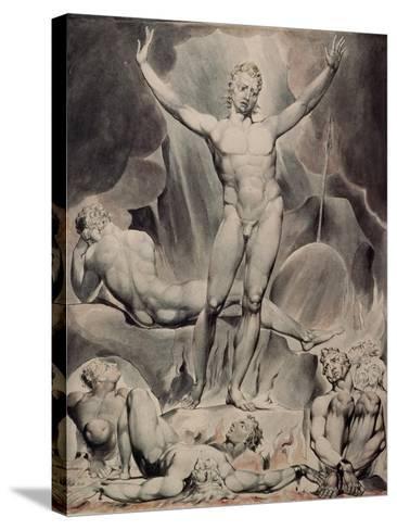Satan Arousing the Rebel Angels-William Blake-Stretched Canvas Print