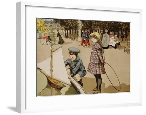 Poster of Kids Sailing Toy Sailboat by Abel Truchet--Framed Art Print