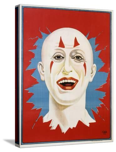 Poster of Stock Clown Head with Red Background--Stretched Canvas Print