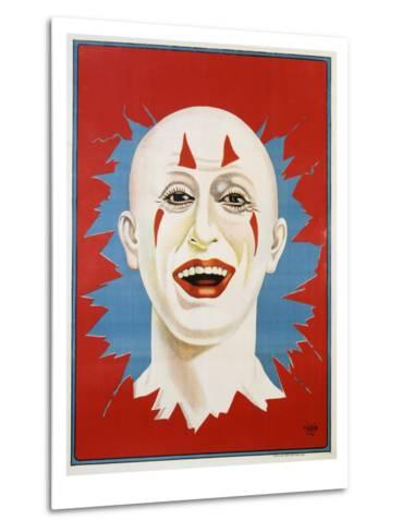 Poster of Stock Clown Head with Red Background--Metal Print