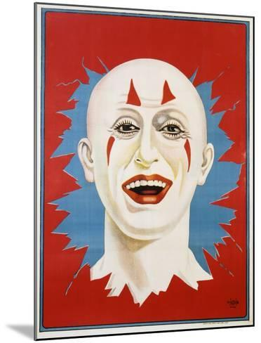 Poster of Stock Clown Head with Red Background--Mounted Giclee Print