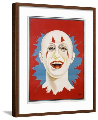 Poster of Stock Clown Head with Red Background--Framed Art Print