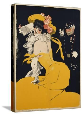Poster of a Woman in a Yellow Dress by Jules Alexandre Grun--Stretched Canvas Print