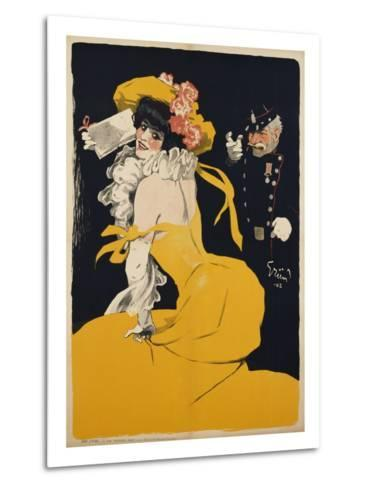Poster of a Woman in a Yellow Dress by Jules Alexandre Grun--Metal Print