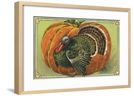 Thanksgiving Greetings with a Turkey and Pumpkin--Framed Art Print
