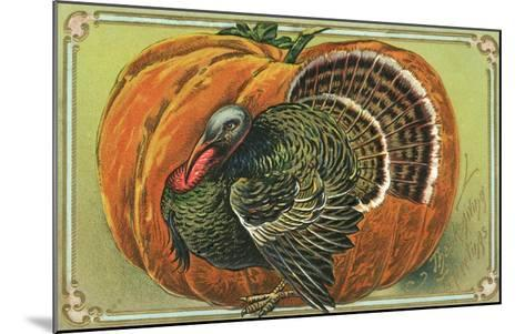 Thanksgiving Greetings with a Turkey and Pumpkin--Mounted Giclee Print
