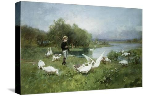 Tending the Geese-Luigi Chialiva-Stretched Canvas Print