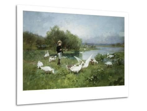 Tending the Geese-Luigi Chialiva-Metal Print