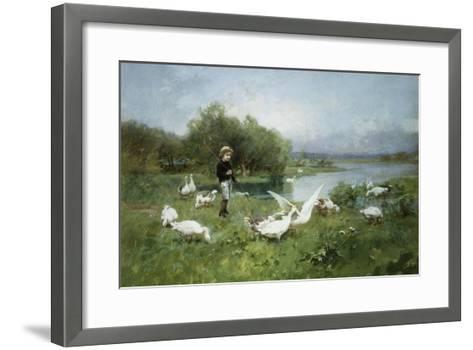 Tending the Geese-Luigi Chialiva-Framed Art Print