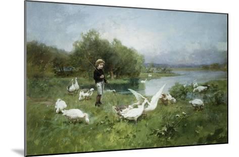 Tending the Geese-Luigi Chialiva-Mounted Giclee Print