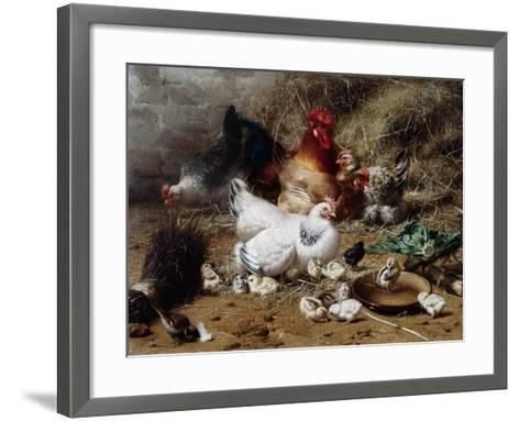 A Family of Chickens-Eugene Remy Maes-Framed Art Print