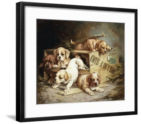 Tumbling Retriever Puppies-Frederico Olaria-Framed Art Print