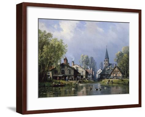A Busy Riverside Village-Charles Euphrasie Kuwasseg-Framed Art Print
